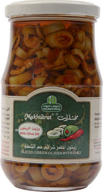 Mukhtarat Sliced Green Olives with Chili